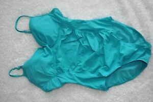 Spanx-L-Love-Your-Assets-Teal-Ruched-One-Piece-Slimming-Swim-Suit-Push-Up-READ