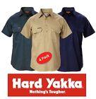 PACK OF 4 HARD YAKKA DRILL CLOSED FRONT SHORT SLEEVE MENS WORK SHIRTS Y07540