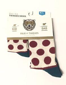 Size S//M//L Pair of Thieves Men/'s Polka Dot//Striped Dad /& Kid Casual Crew Socks