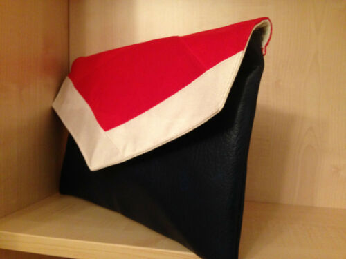 NAUTICAL OVER SIZED  NAVY BLUE RED /& WHITE envelope faux leather clutch bag BN