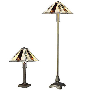 Tiffany Style Stained Cut Glass Brown Mission Lamp Set