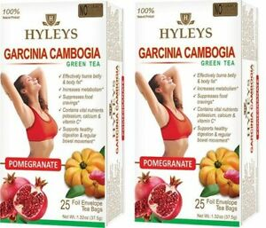 2 Boxes Hyleys Garcinia Cambogia Green Tea Pomegranate 100 Natural