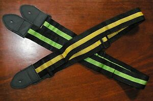 GUITAR-STRAP-2-PACK-NEW-NYLON-amp-LEATHER-Black-amp-Green-Black-amp-Gold-Straps