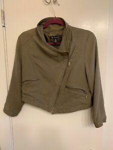 INC-International-Concepts-Womens-Silk-100-Military-green-Jacket-M-Asymmetrical