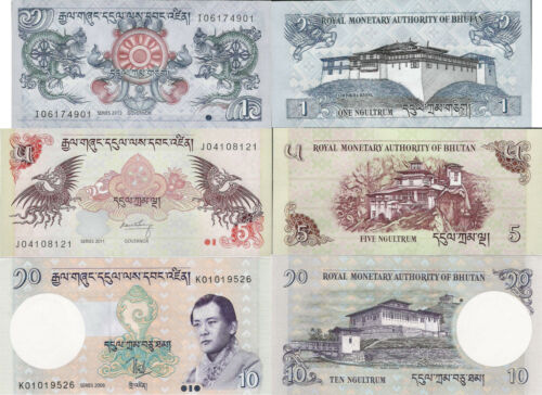 Pick 27-29 UNC random years Bhutan set 3 pcs 1+5+10 Ngultrum