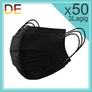 50x Atemschutzmaske Dreilagig Mund Nase Schutz Maske in Schwarz - Geruchsneutral