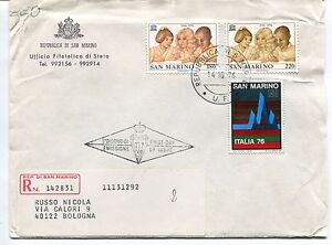 1976 Fdc San Marino U.n.e.s.c.o. Espos. Filatelia Raccomandata First Day Cover êTre Nouveau Dans La Conception