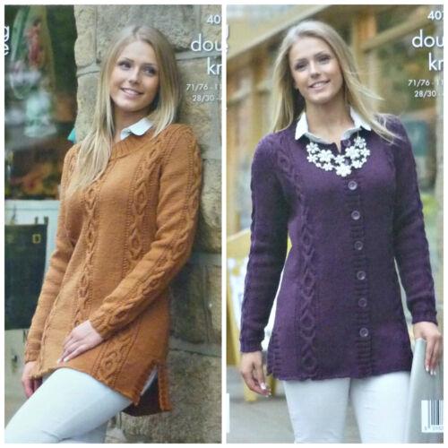 KNITTING PATTERN Ladies Long Sleeve Round Neck Long Cable Tunic /& Jacket DK 4076