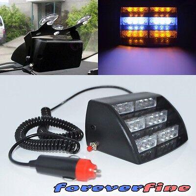 18 AMBER/WHITE LED STROBE SECURITY/WARNING/TRAFFIC EMERGENCY LIGHT PANEL