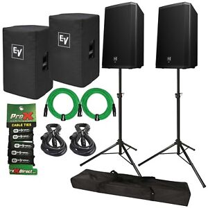 """Electro-Voice ZLX-12P 12"""" Powered PA Speakers Pair + Stands + Green XLR + Covers"""