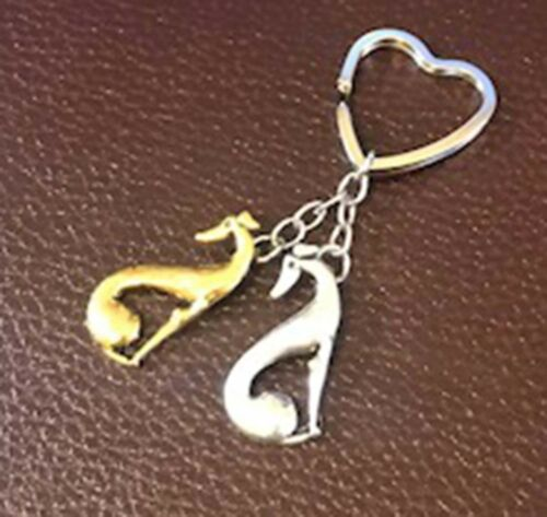 Sitting Greyhounds Heart-Shaped Keyring  **FREE SHIPPING** Seeing Double