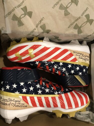 UA Bryce HARPER 3 MID RM JR LE USA FLAG Red//White//blue 4.5Y Youth
