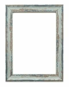 Vintage Distressed Effect Picture Frame Blue Poster Frames White Wood Effect New