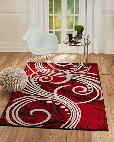 Summit 49 Red White Grey Black Swirls Modern Abstract Area Rug Multi Color