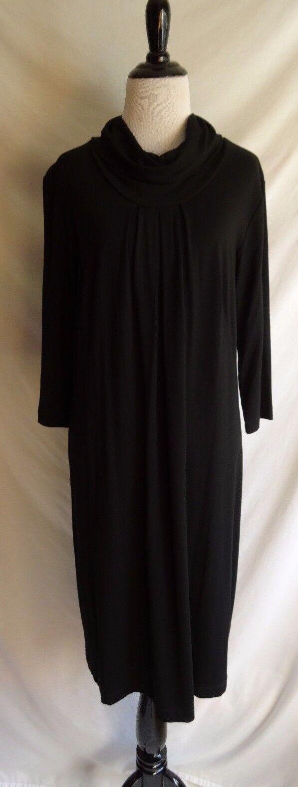 J. Jill Stretch Medium Solid schwarz Cowl Neck Turtleneck Jersey Knit Shift Dress