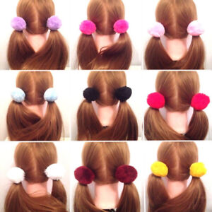 2x-Women-Girl-Pom-pom-Ball-Scrunchie-Hair-Band-Rope-Elastic-Tie-Ponytail-Holder