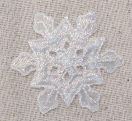 Iron on Applique//Embroidered Patch Large Snowflake White Iridescent//Christmas