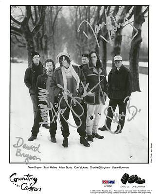 Counting Crows Signed Autographed 8x10 B/w Photo 5 Sigs Psa/dna #ac06340