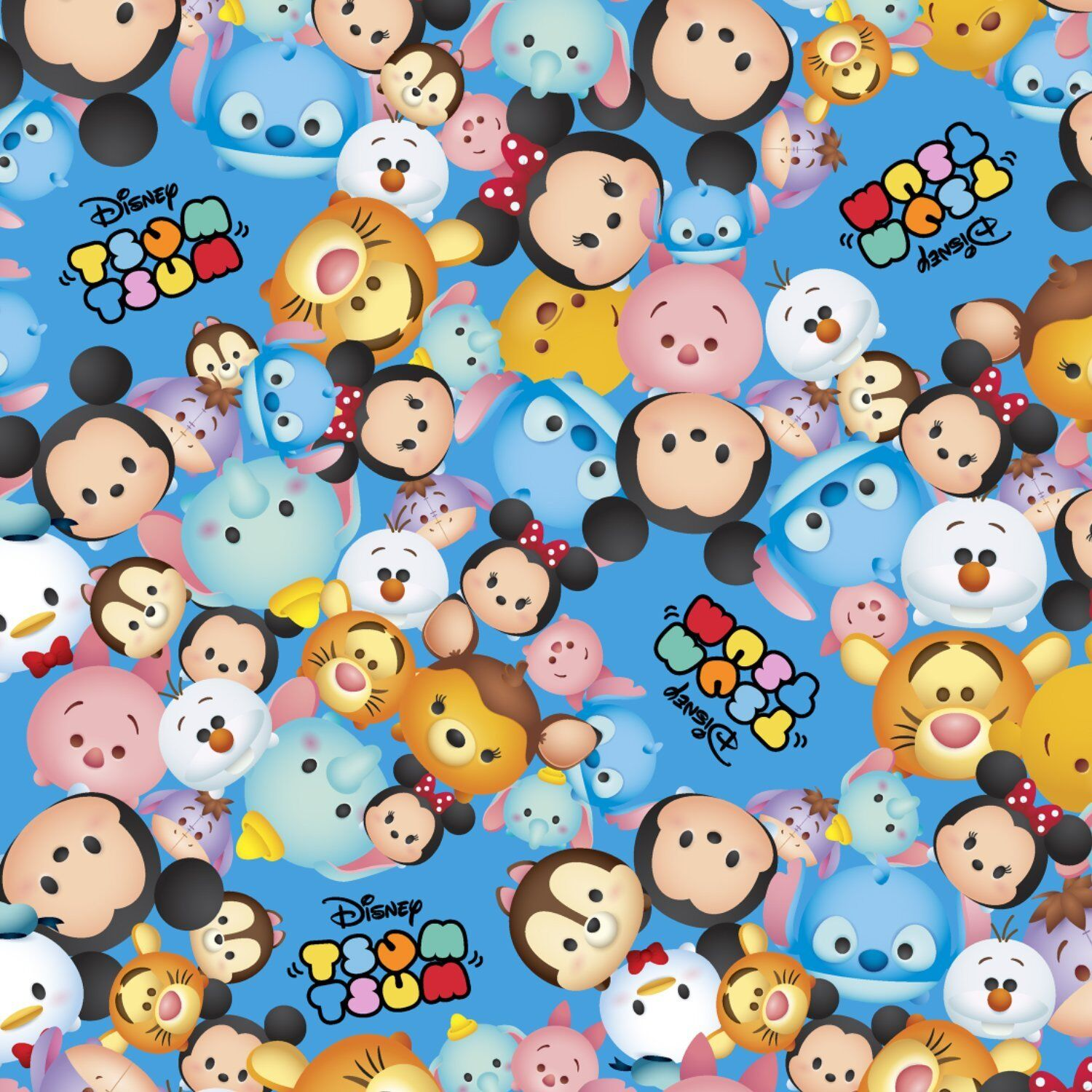 100 Pictures Cartoon Characters disney tsum tsum packed characters logo blue 100% cotton fabricthe yard