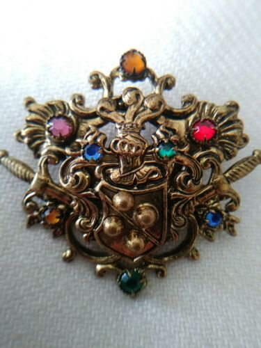 Vintage Czech Heraldic Coat of Arms Rhinestone Pin