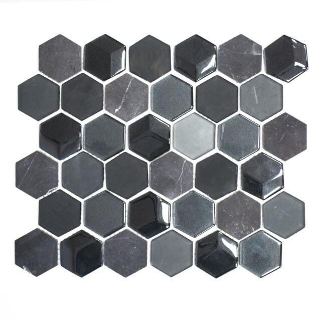 Mosaikmatte Mosaikfliesen Mosaik Hexagon Crystal/Stein mix 3D schwarz matt