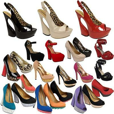 Ladies High Heels Court Shoes Womens Fancy Party Office Smart Office Shoes Size