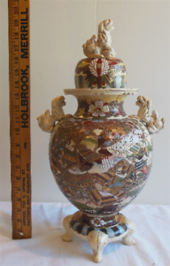 "Antique 20"" tall Japanese Meiji Period Satsuma Warrior Foo-Dogs Lions Vase/Urn"