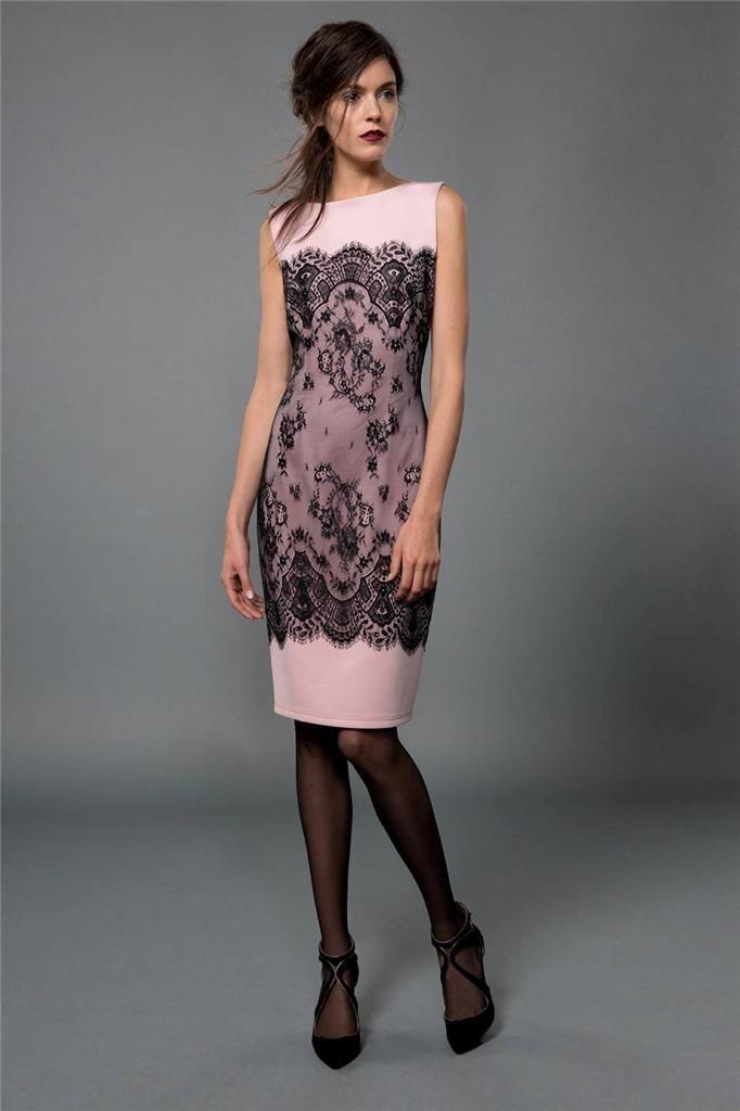 TADASHI SHOJI Neoprene and Metallic Lace Sheath Pale Pink Pink Pink Dress SIZE 10 NWT a2f037