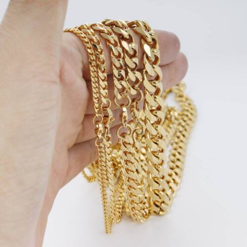 18K Gold Plated Cuban//Curb Link Chain Necklace or Bracelet no fade-no allergy