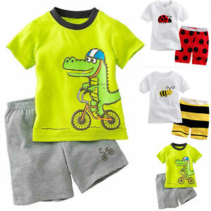 3f82155099 Kids Boys Summer Short Sleeve T-shirt Top + Shorts Outfits Set ...