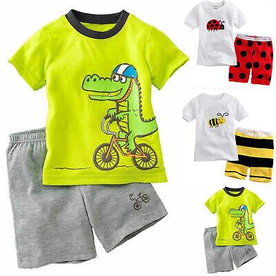 Toddler Baby Boy Girl Short Sleeve Dinosaur Tops+Pants Pajamas Sleepwear Outfits