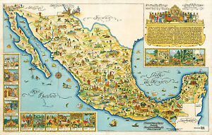 Early-Pictorial-Map-of-Mexico-Wall-Art-Print-Poster-Decor-Vintage-History