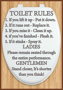 Bathroom Rules bathroom toilet rules door sign a4 size laminated other designs