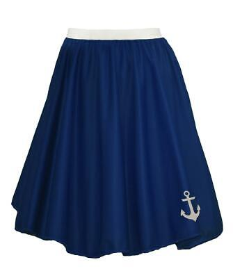 """22"""" Donna Blu Navy Naval Stampato Anchor Sailor Costume Skater Gonna-mostra Il Titolo Originale Buona Conservazione Del Calore"""