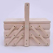 Vintage style Wooden canitlever sewing needlework storage box natural pine PZ500