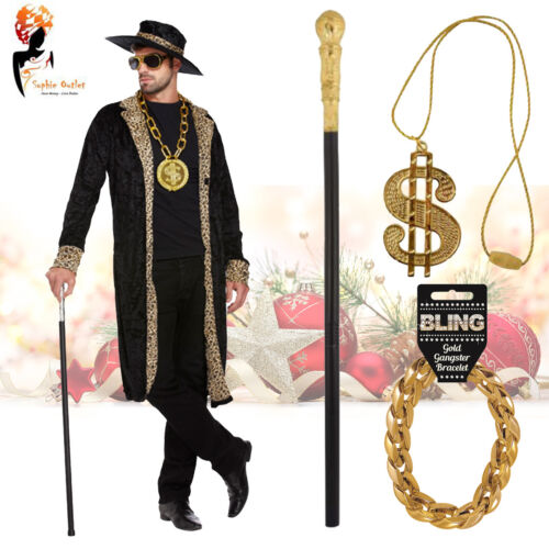 Black Pimp Costume Fancy Dress Party Mens Adult Gangster Outfit Pimp Stick