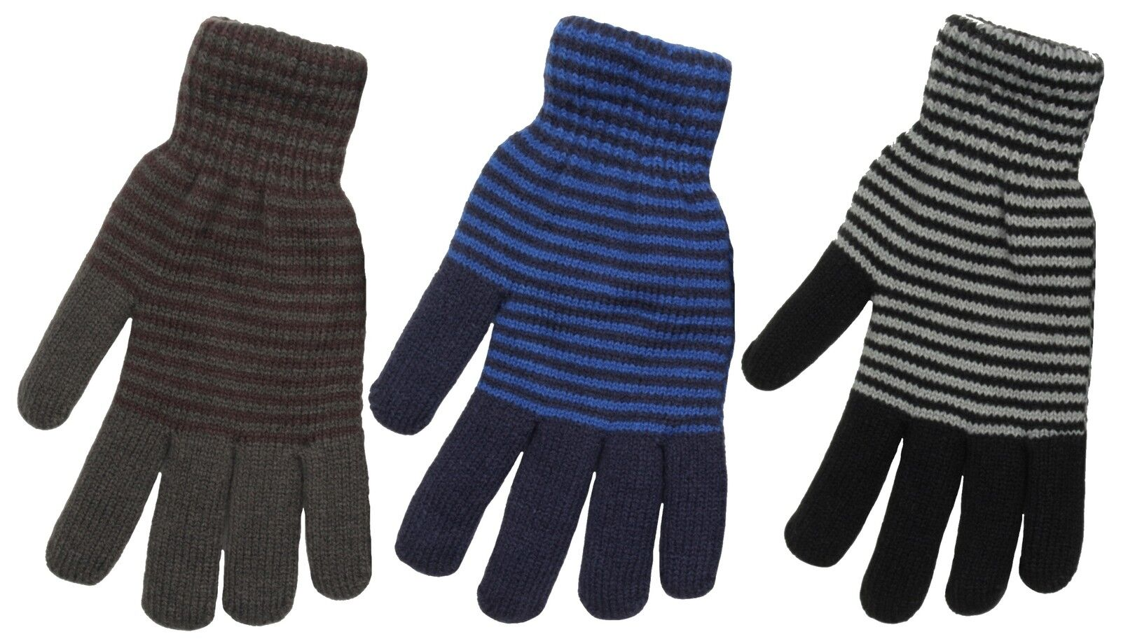 Tom Franks Mens Feather Lined striped Knitted Winter Gloves