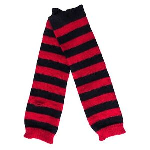 80s 90s Gothic Horror Punk Rock Emo Red Black Stripe Knit Arm Warmer Armwarmers