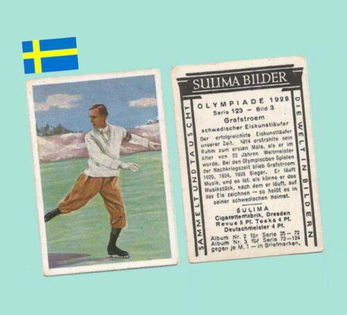 1928 Olympics German Tobacco Trading Card - Gillis Grafstroem Sweden Skater VG+