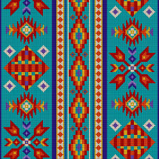 Elisabeth's Studio TUCSON Native American Abstract Bead Style Fabric - Turquoise