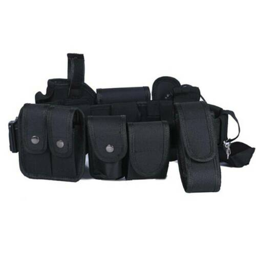 Black Tactical Oxford police Security Guard Duty Belt Utility Kit System Pouch