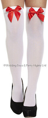 Sexy White Hold Ups Stockings Satin Bow Ladies Fancy Dress Nurse Xmas Halloween