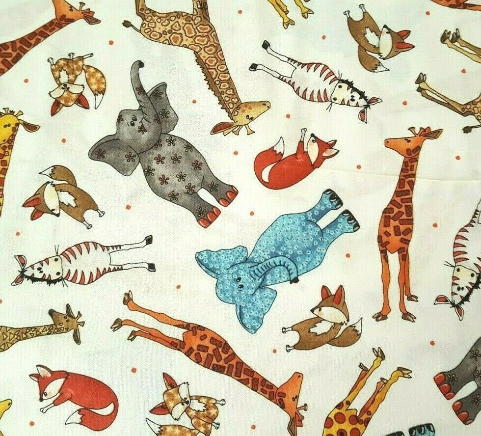 Wild Things BTY Desiree/'s Designs Quilting Treasures Giraffe Elephant Zebra Fox