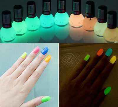 12 COLORS 8ml Fluorescent Neon Nail Art Polish Glow in Dark Varnish night club