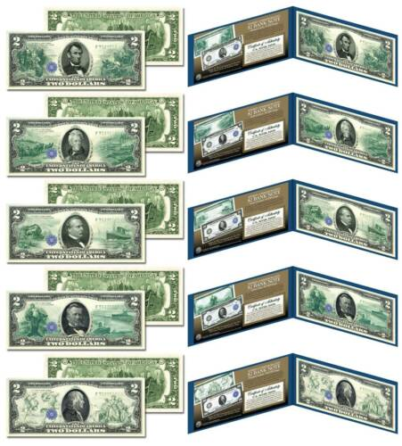 Set of 5 Modern $2 Bills 1914 Federal Reserve Bank Notes Hybrid Commemorative