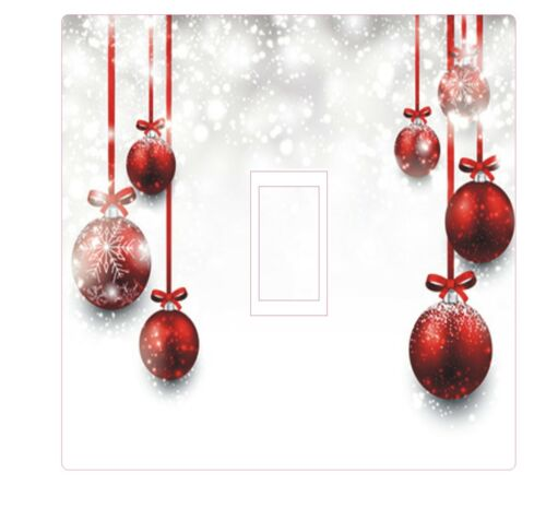 CHRISTMAS LIGHT SWITCH COVER STICKER DECAL HD DIGITAL PRINTED BAUBLES SNOWFLAKES