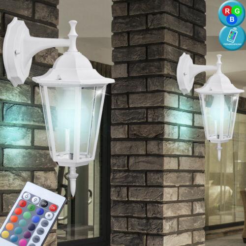 2x LED RGB luci esterne muro vialetto LAMPADE dimmer LANTERNE IN ALLUMINIO telecomando