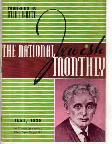 1939 National Jewish Monthly June Brandeis;Slovakia worse on Jews than Germany