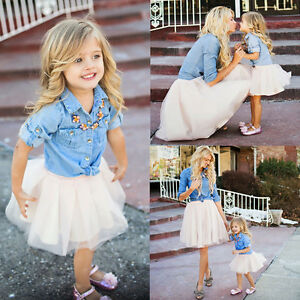 309eb2ee4e Mother-daughter Denim T-shirt Tops+Tutu Skirt Outfit Women Baby Girl ...