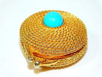 Affidabile Vintage Estee Lauder Color Oro Profumo Solido Custodia Pietra Turchese
